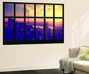 Wall Mural - Window View - Manhattan at Sunset - Times Square Buildings - New York City by Philippe Hugonnard