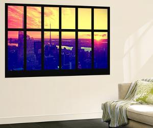 Wall Mural - Window View - Manhattan at Sunset - Times Square Buildings - New York - USA by Philippe Hugonnard