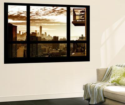 Wall Mural - Window View - Manhattan at Sunset with One World Trade Center - New York by Philippe Hugonnard