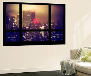 Wall Mural - Window View - Manhattan by Foggy Night - The New Yorker Hotel Sign - New York by Philippe Hugonnard