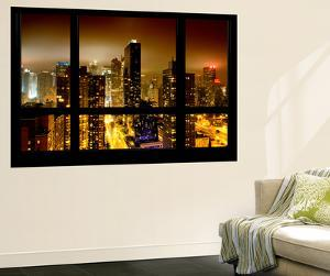 Wall Mural - Window View - Manhattan by Foggy Night - Times Square and 42nd Street - New York by Philippe Hugonnard