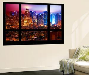 Wall Mural - Window View - Manhattan by Foggy Night - Times Square and Theater District - New York by Philippe Hugonnard