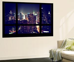 Wall Mural - Window View - Manhattan by Night - Times Square and 42nd Street - New York by Philippe Hugonnard