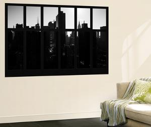 Wall Mural - Window View - Manhattan in Backlight at Sunrise - Times Square - New York by Philippe Hugonnard