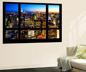 Wall Mural Window View Manhattan Skyline At Night New York City By Philippe