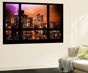 Wall Mural - Window View - Manhattan Skyscrapers at Night - New York by Philippe Hugonnard