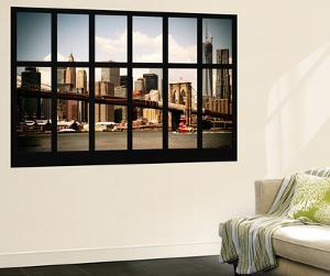 Wall Mural - Window View - Manhattan View with Brooklyn Bridge and 1WTC - New York by Philippe Hugonnard
