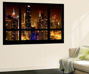 Wall Mural - Window View - Manhattan View with Times Square - New York by Night by Philippe Hugonnard