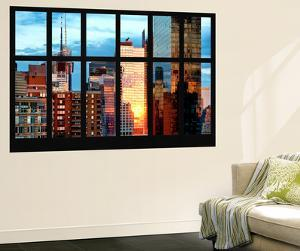 Wall Mural - Window View - Reflections of the Sunset in Buildings Times Square - Manhattan by Philippe Hugonnard