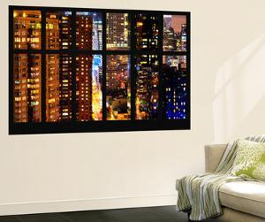 Wall Mural - Window View - Skyscrapers by Night - Times Square - Manhattan - New York City by Philippe Hugonnard