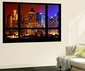 Wall Mural - Window View - Times Square Buildings by Night - Manhattan - New York by Philippe Hugonnard