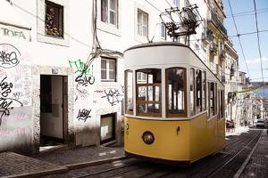 Welcome to Portugal Collection - Bica Elevator Yellow Tram in Lisbon II by Philippe Hugonnard