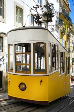 Welcome to Portugal Collection - Bica Elevator Yellow Tram in Lisbon III by Philippe Hugonnard