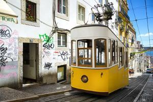 Welcome to Portugal Collection - Bica Elevator Yellow Tram in Lisbon by Philippe Hugonnard