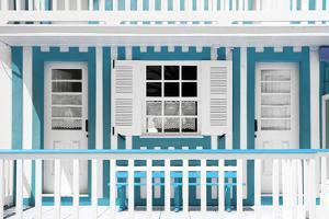 Welcome to Portugal Collection - Blue and White Striped House Facade by Philippe Hugonnard