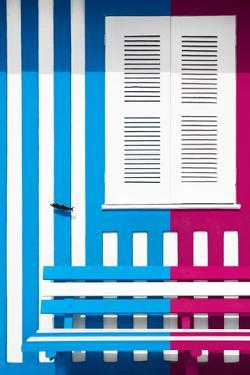 Welcome to Portugal Collection - Colorful Facade with Blue and Deep Pink Stripes by Philippe Hugonnard