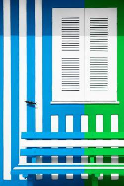 Welcome to Portugal Collection - Colorful Facade with Blue and Green Stripes by Philippe Hugonnard