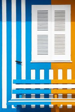 Welcome to Portugal Collection - Colorful Facade with Blue and Orange Stripes by Philippe Hugonnard