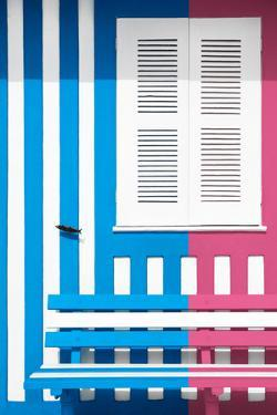 Welcome to Portugal Collection - Colorful Facade with Blue and Pink Stripes by Philippe Hugonnard