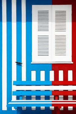 Welcome to Portugal Collection - Colorful Facade with Blue and Red Stripes by Philippe Hugonnard