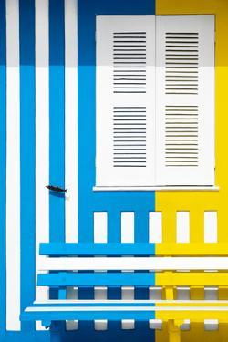 Welcome to Portugal Collection - Colorful Facade with Blue and Yellow Stripes by Philippe Hugonnard