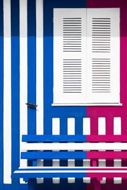 Welcome to Portugal Collection - Colorful Facade with Blue Marine and Deep Pink Stripes by Philippe Hugonnard