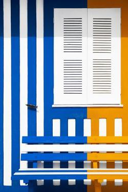 Welcome to Portugal Collection - Colorful Facade with Blue Marine and Orange Stripes by Philippe Hugonnard