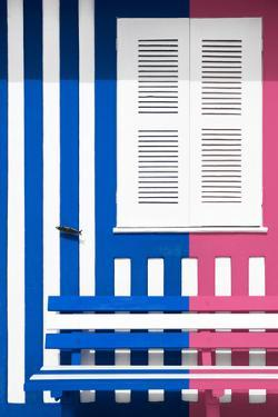 Welcome to Portugal Collection - Colorful Facade with Blue Marine and Pink Stripes by Philippe Hugonnard