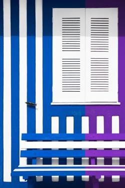 Welcome to Portugal Collection - Colorful Facade with Blue Marine and Purple Stripes by Philippe Hugonnard