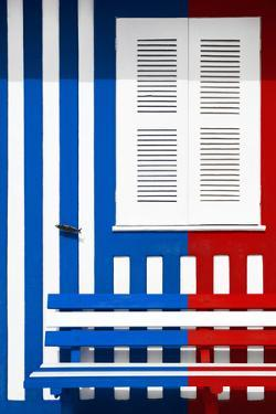 Welcome to Portugal Collection - Colorful Facade with Blue Marine and Red Stripes by Philippe Hugonnard