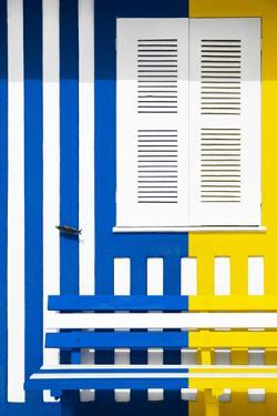 Welcome to Portugal Collection - Colorful Facade with Blue Marine and Yellow Stripes by Philippe Hugonnard