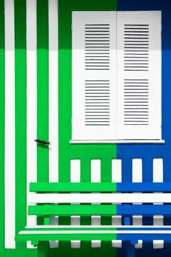 Welcome to Portugal Collection - Colorful Facade with Green and Blue Marine Stripes by Philippe Hugonnard