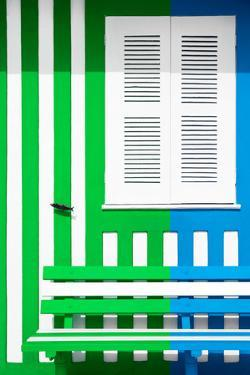 Welcome to Portugal Collection - Colorful Facade with Green and Blue Stripes by Philippe Hugonnard