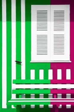 Welcome to Portugal Collection - Colorful Facade with Green and Deep Pink Stripes by Philippe Hugonnard