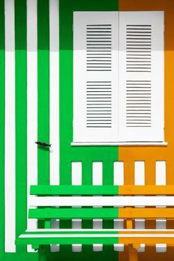 Welcome to Portugal Collection - Colorful Facade with Green and Orange Stripes by Philippe Hugonnard