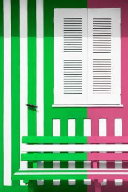 Welcome to Portugal Collection - Colorful Facade with Green and Pink Stripes by Philippe Hugonnard