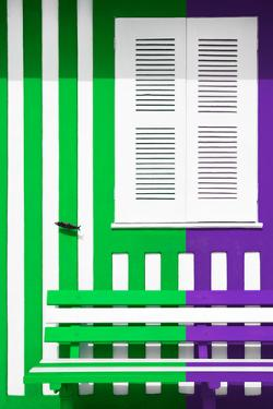 Welcome to Portugal Collection - Colorful Facade with Green and Purple Stripes by Philippe Hugonnard