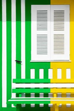 Welcome to Portugal Collection - Colorful Facade with Green and Yellow Stripes by Philippe Hugonnard