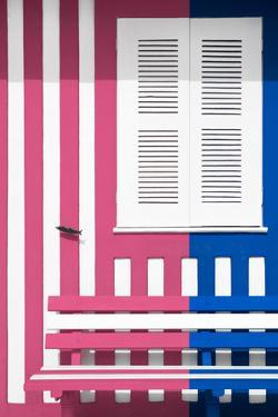Welcome to Portugal Collection - Colorful Facade with Pink and Blue Marine Stripes by Philippe Hugonnard