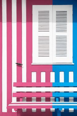 Welcome to Portugal Collection - Colorful Facade with Pink and Blue Stripes by Philippe Hugonnard