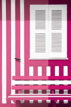 Welcome to Portugal Collection - Colorful Facade with Pink and Deep Pink Stripes by Philippe Hugonnard