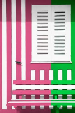 Welcome to Portugal Collection - Colorful Facade with Pink and Green Stripes by Philippe Hugonnard