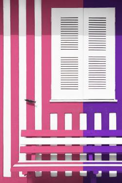 Welcome to Portugal Collection - Colorful Facade with Pink and Purple Stripes by Philippe Hugonnard