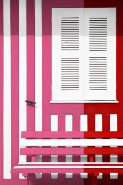 Welcome to Portugal Collection - Colorful Facade with Pink and Red Stripes by Philippe Hugonnard