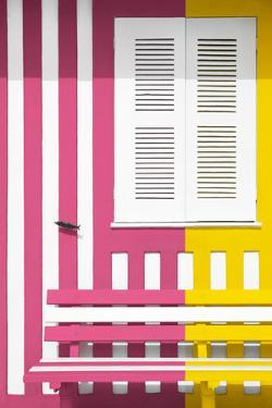 Welcome to Portugal Collection - Colorful Facade with Pink and Yellow Stripes by Philippe Hugonnard