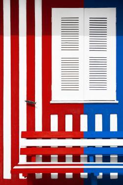 Welcome to Portugal Collection - Colorful Facade with Red and Blue Stripes by Philippe Hugonnard