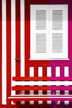 Welcome to Portugal Collection - Colorful Facade with Red and Deep Pink Stripes by Philippe Hugonnard