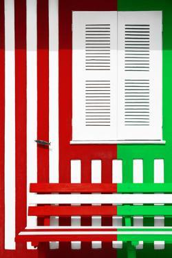 Welcome to Portugal Collection - Colorful Facade with Red and Green Stripes by Philippe Hugonnard