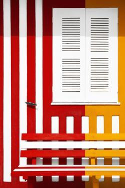Welcome to Portugal Collection - Colorful Facade with Red and Orange Stripes by Philippe Hugonnard