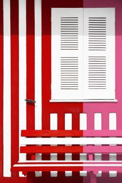 Welcome to Portugal Collection - Colorful Facade with Red and Pink Stripes by Philippe Hugonnard
